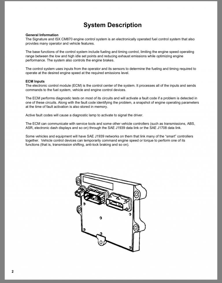 Manual on CM870 ECM & Sensor locations